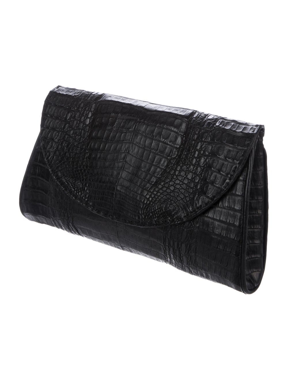 Rhonda Ochs Large Crocodile Clutch Black - image 3
