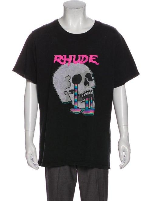 Rhude Pixelated Skull Graphic Print T-Shirt Black