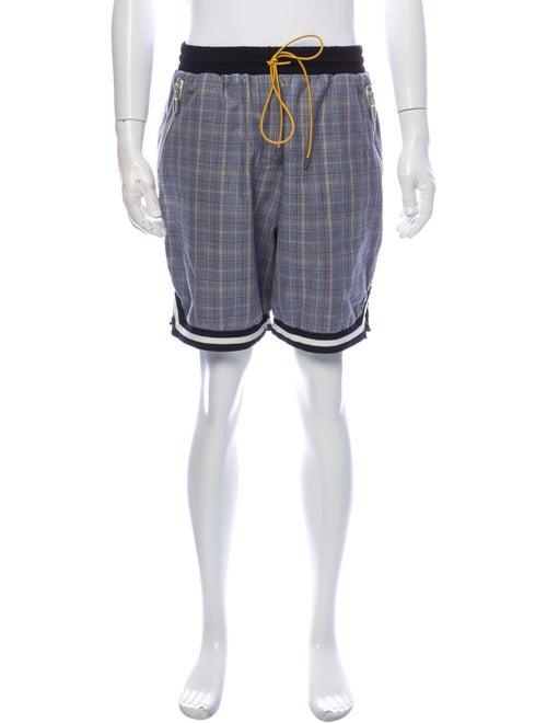 Rhude Plaid Print Jogger Shorts Blue