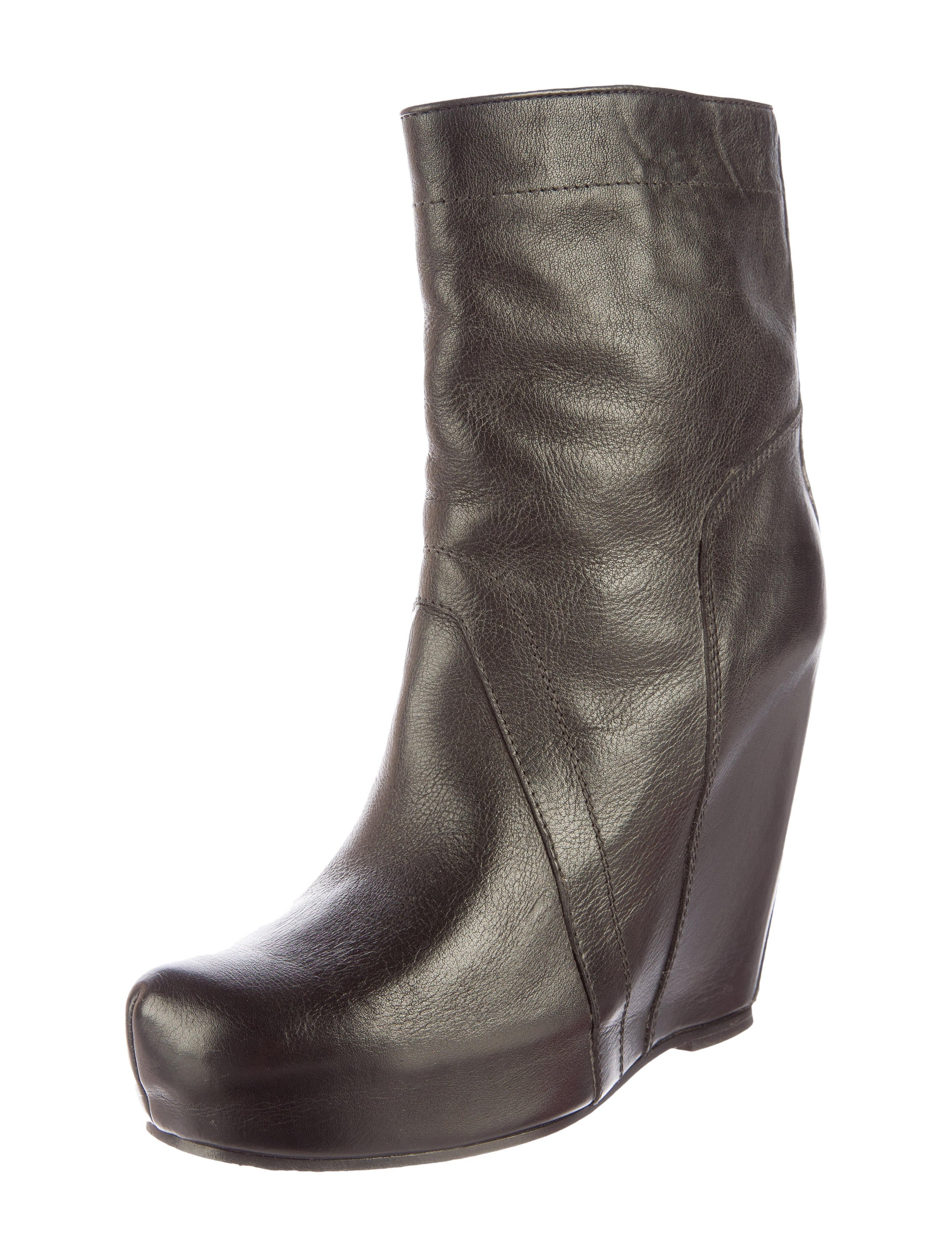 rick owens leather wedge ankle boots shoes ric25881