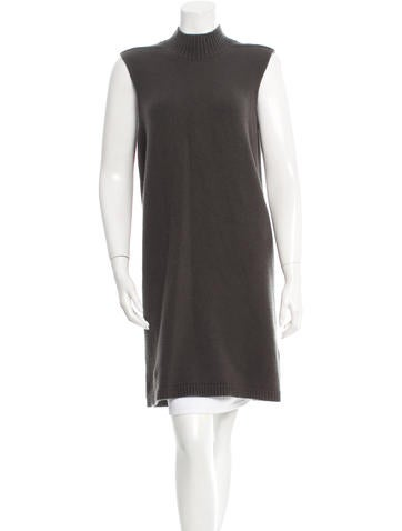 Rick Owens Rib Knit-Trimmed Mock Neck Tunic None