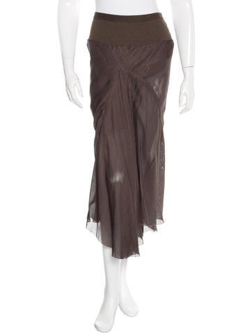 Rick Owens Silk-Blend Midi Skirt None