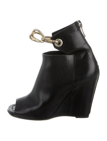 Rick Owens Chain-Link Wedge Ankle Boots None