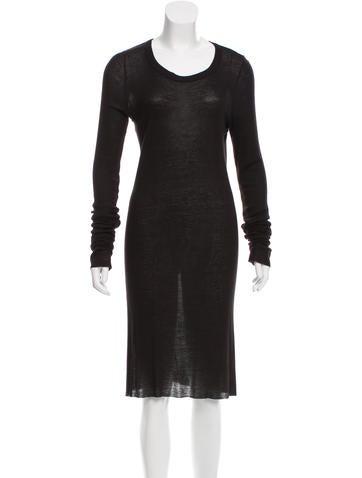 Rick Owens Long Sleeve Rib Knit Dress None