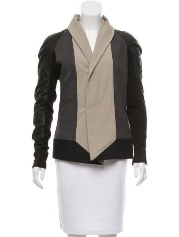 Rick Owens Wool Leather-Paneled Jacket None