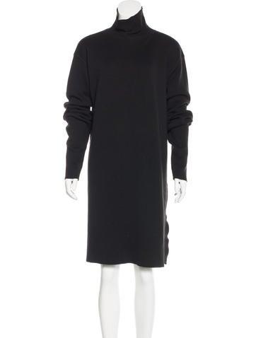 Rick Owens Virgin Wool Turtleneck Dress None