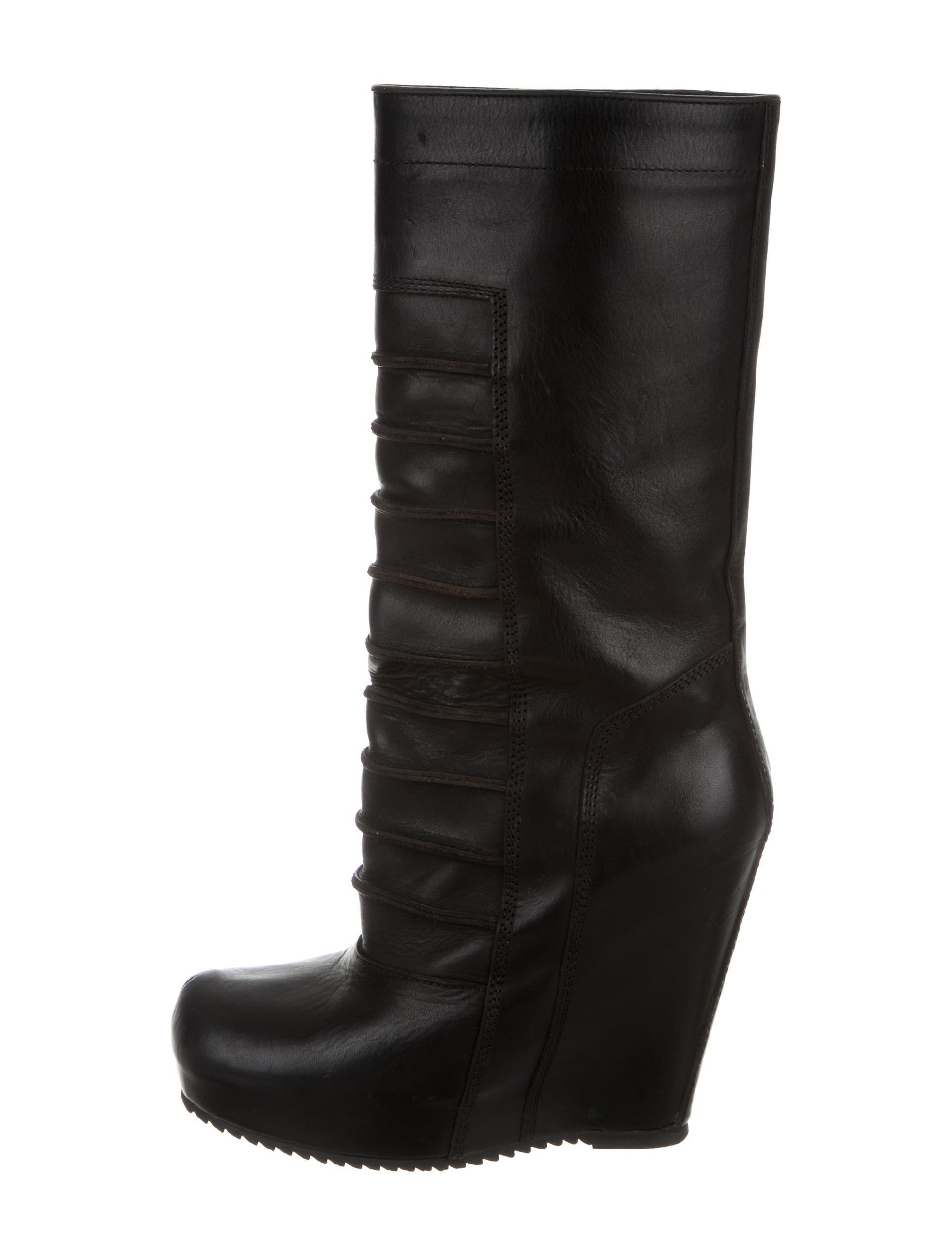 rick owens mid calf wedge boots shoes ric28112 the