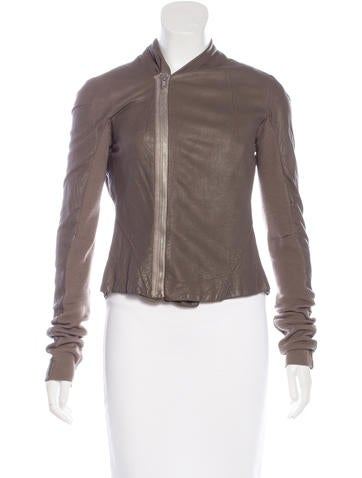 Rick Owens Leather Paneled Jacket None