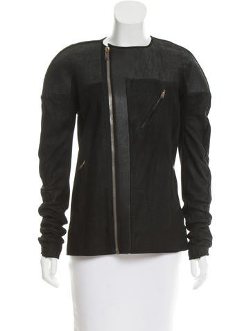 Rick Owens Distressed Leather Jacket None