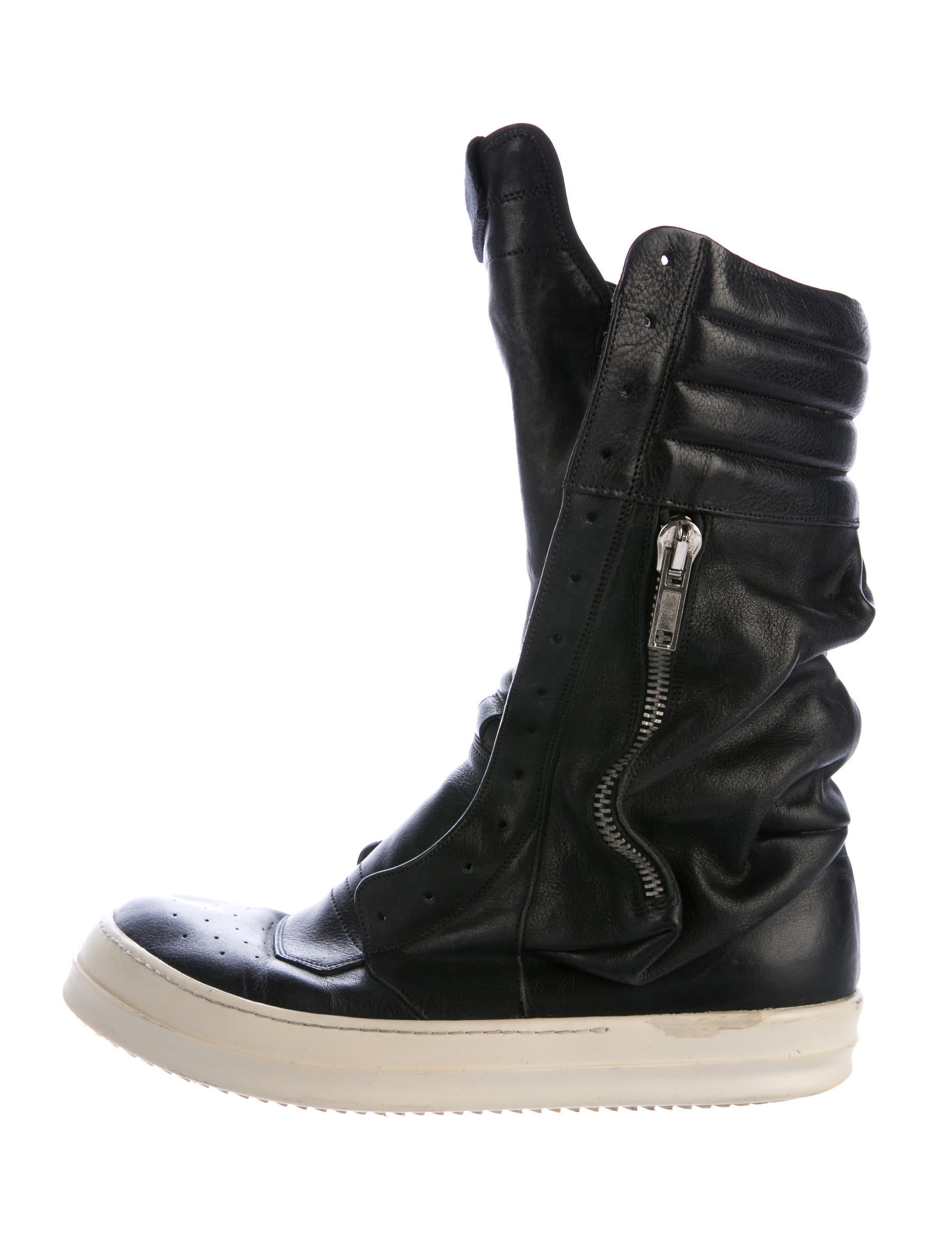 Rick Owens Leather Laceless Sneakers Shoes Ric29476