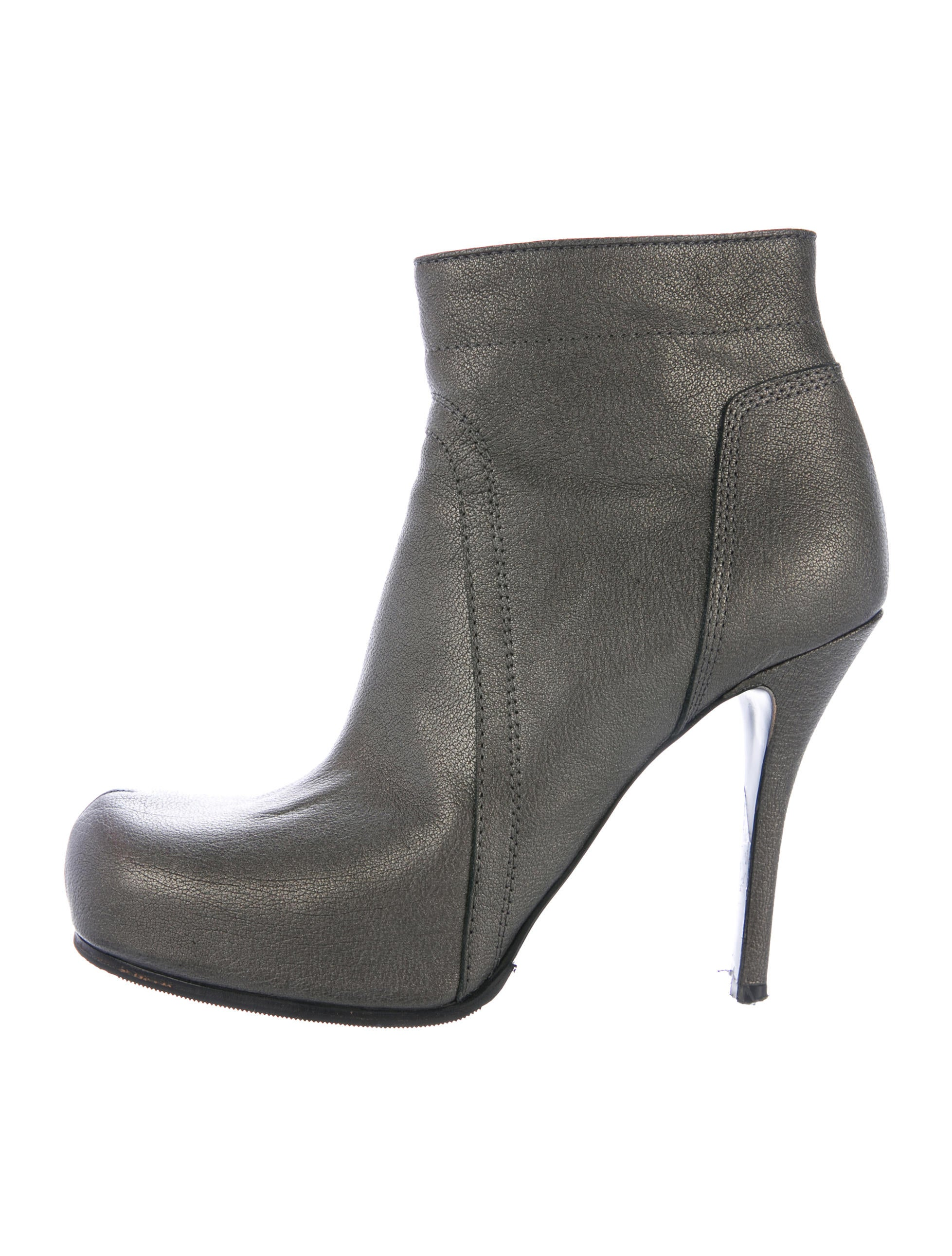 Metallic Leather Boots : Rick owens metallic leather ankle boots shoes ric