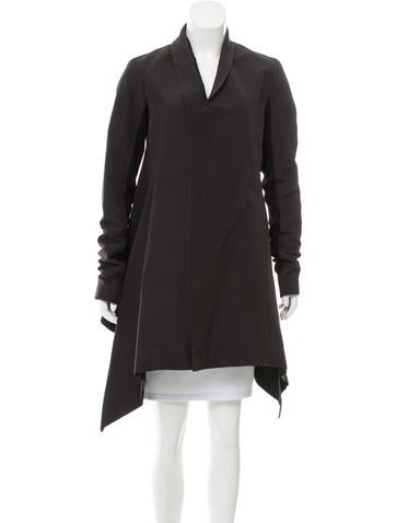 Rick Owens Rib Knit-Trimmed Asymmetrical Jacket None