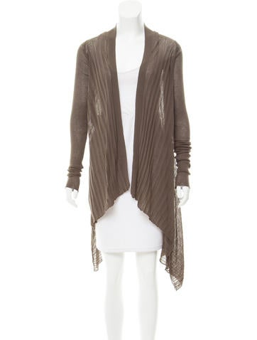 Rick Owens Open Front Rib Knit Cardigan None