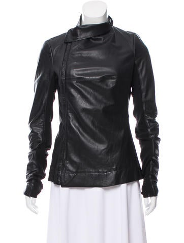 Rick Owens Leather Asymmetrical Jacket None