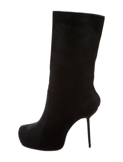 Rick Owens Leather Platform Boots Black