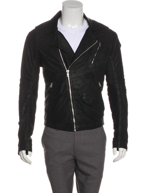 Rick Owens Leather Zip-Up Jacket black