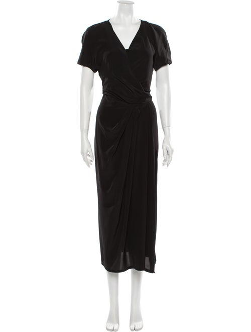 Rick Owens Silk Midi Length Dress Black