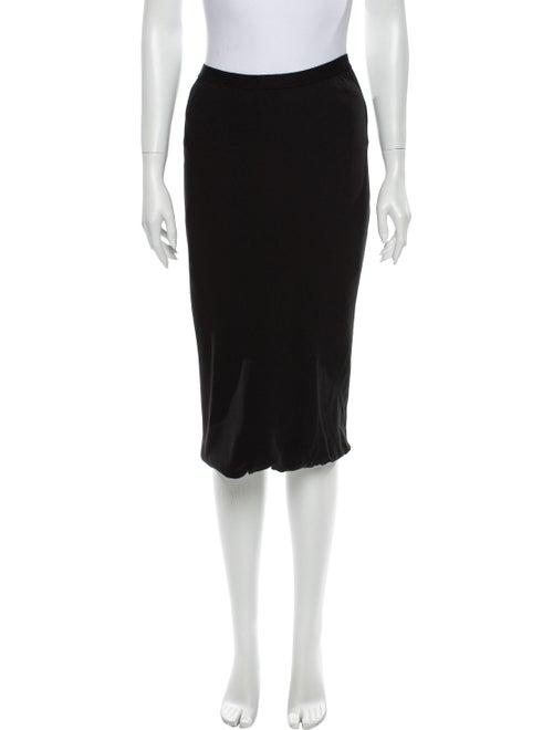 Rick Owens Silk Midi Length Skirt Black