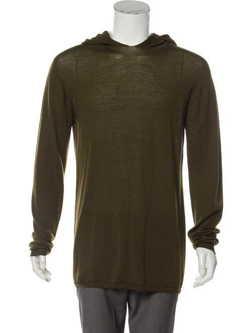 Rick Owens Hooded Wool Sweater olive