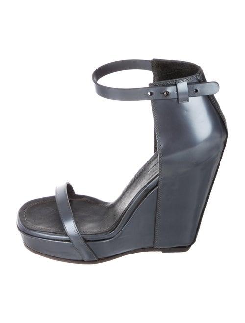 Rick Owens Leather Wedge Sandals Metallic