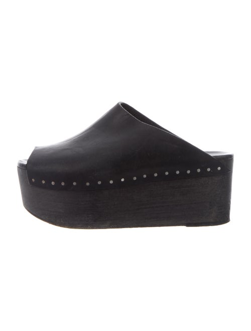 Rick Owens Leather Platform Clogs Black