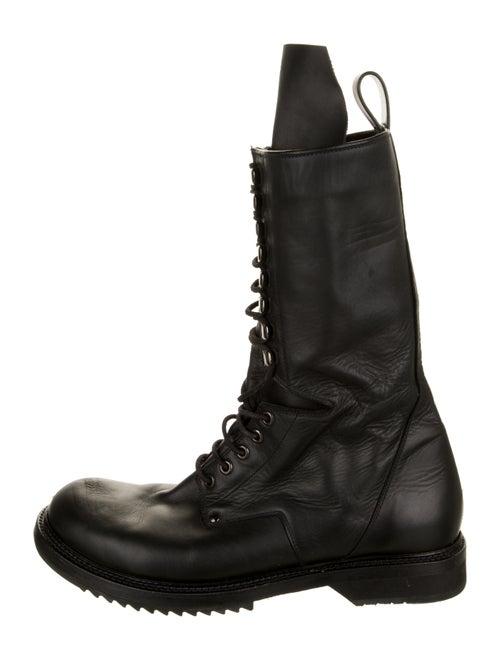 Rick Owens Leather Combat Boots Black