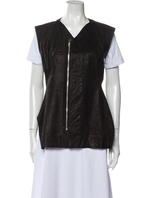 Rick Owens Calf Leather Vest Black