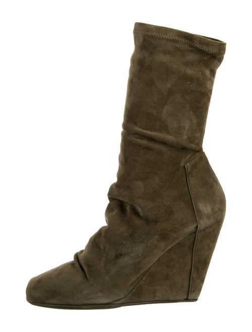 Rick Owens Suede Boots Green