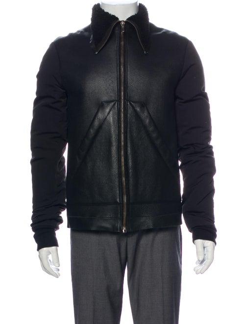Rick Owens Lamb Leather Puffer Coat Black