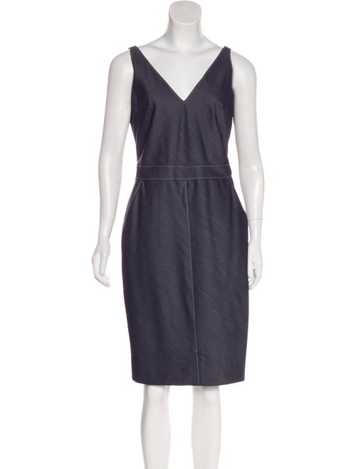 Richard Tyler Chambray Knee-Length Dress Blue