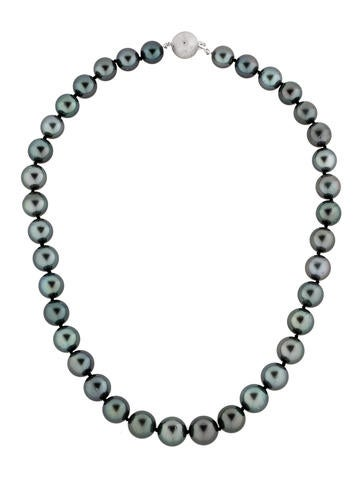 Tahitian Pearl Necklace with Diamond Ball Clasp w/ Tags