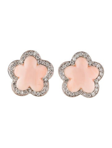 Pink Coral and Diamond Flower Clip-On Earrings