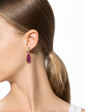 Ruby Slice and Diamond Drop Earrings