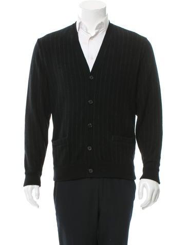 Ralph Lauren Purple Label Pinstripe Wool Cardigan None