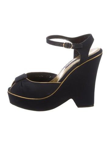 Ralph Lauren Purple Label Grosgrain Wedge Sandals
