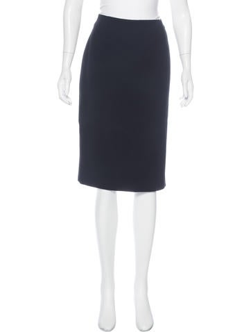 Ralph Lauren Purple Label Wool & Cashmere-Blend Knee-Length Skirt None