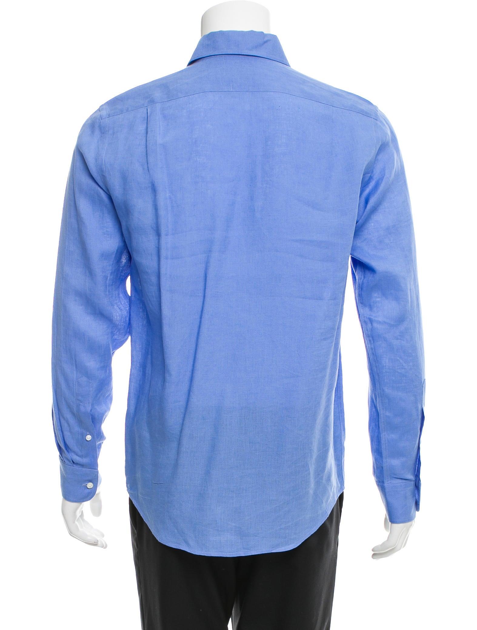 Ralph lauren purple label linen button up shirt clothing for Mens light blue linen shirt