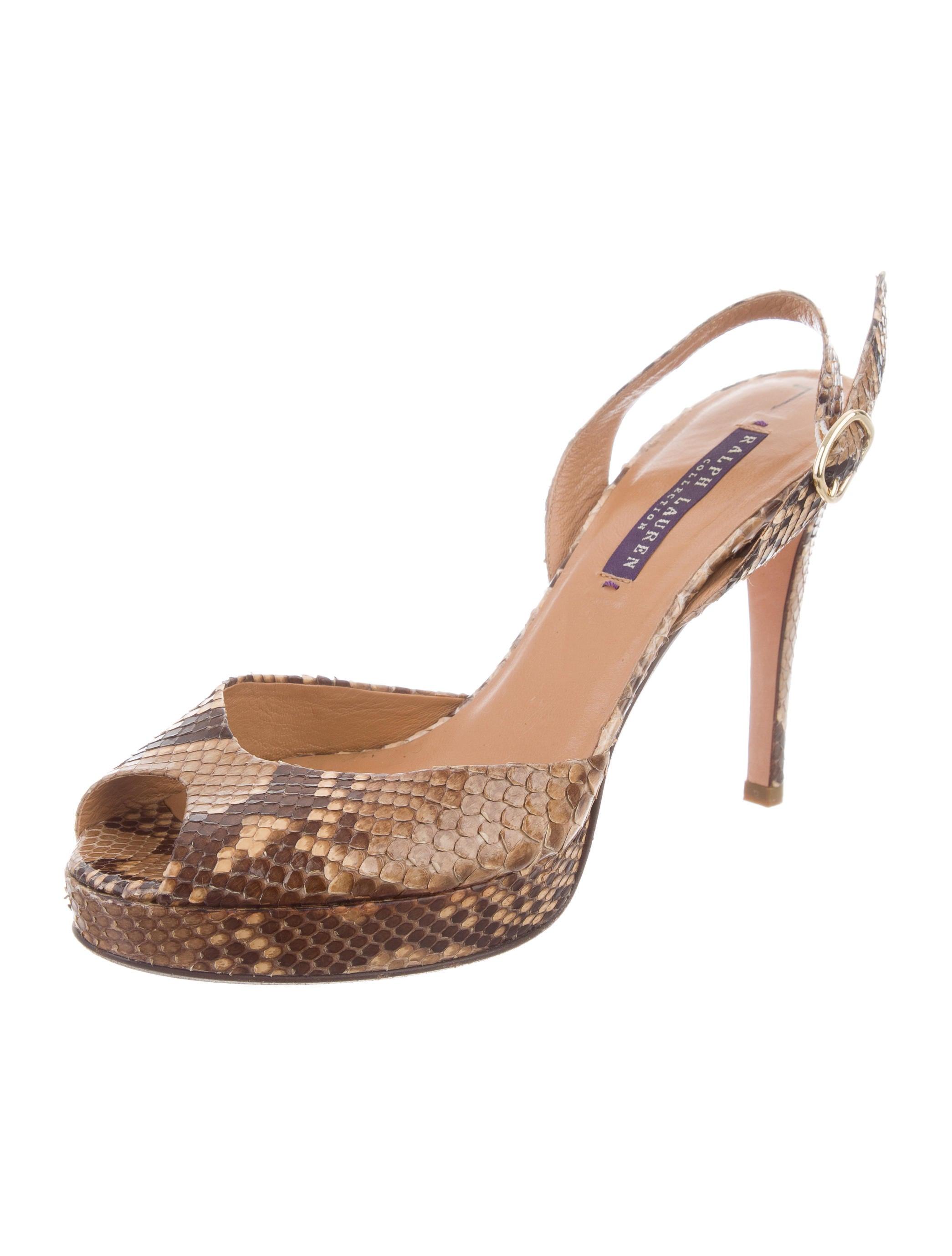 Ralph Lauren Purple Label Python Ankle Strap Sandals Inexpensive online IfM07VJ