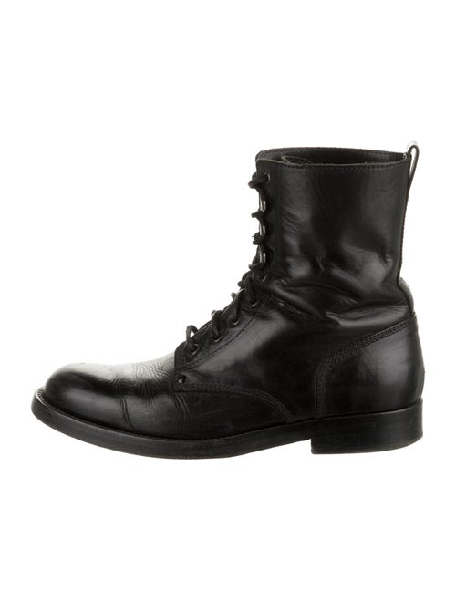 Ralph Lauren Purple Label Leather Combat Boots Pur