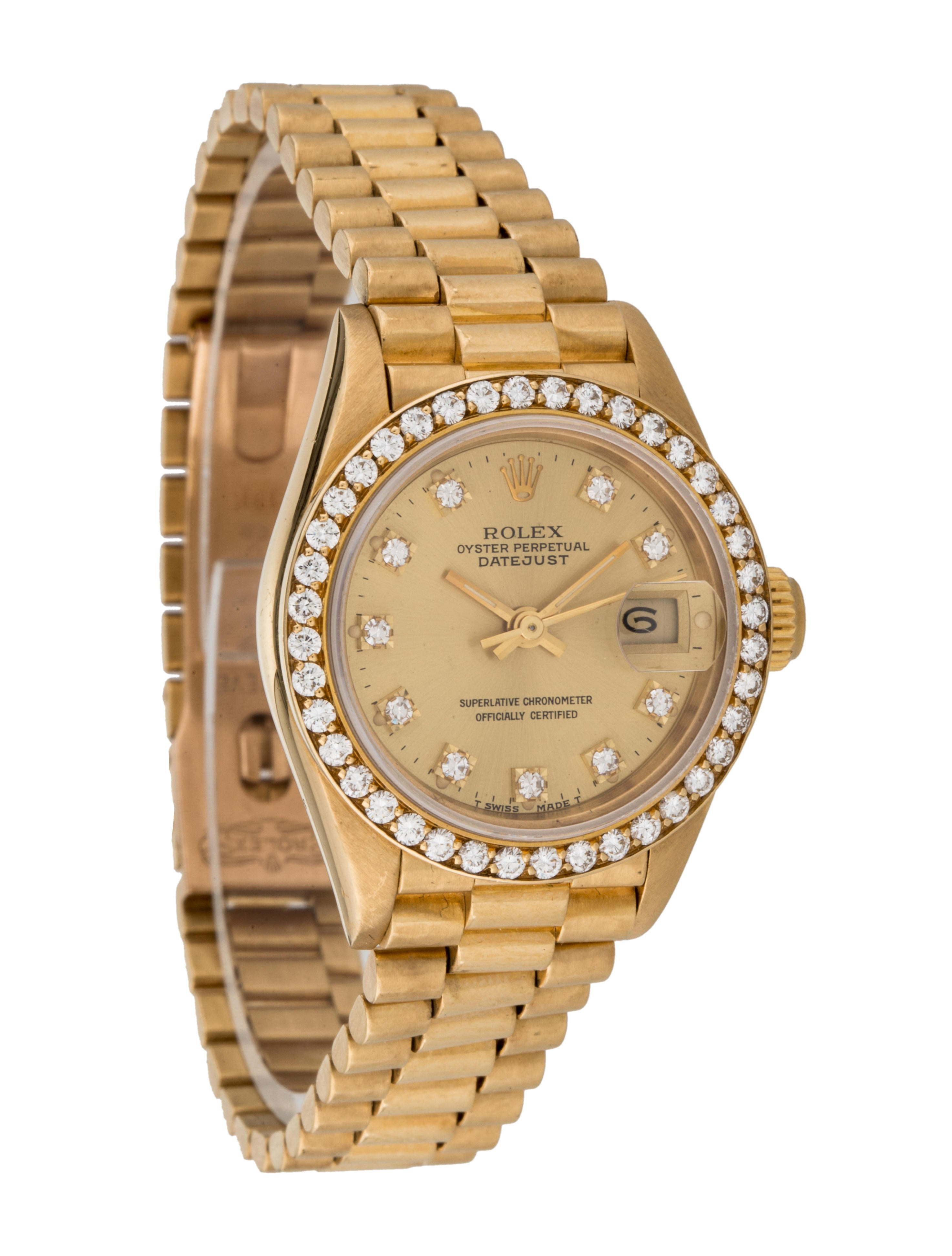Rolex diamond oyster perpetual datejust watch bracelet rlx21097 the realreal for Oyster watches