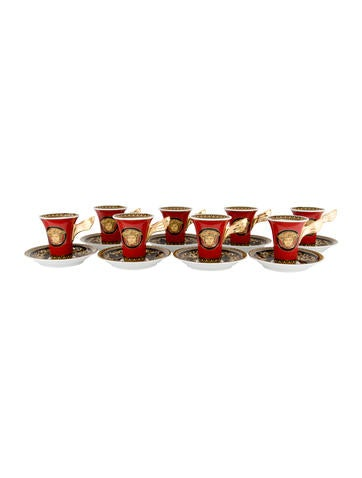Rosenthal Meets Versace Set of 8 Medusa Demitasse Cups and Saucers None