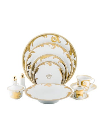 Rosenthal Meets Versace 117-Piece Arabesque Gold Partial Dinner Service None
