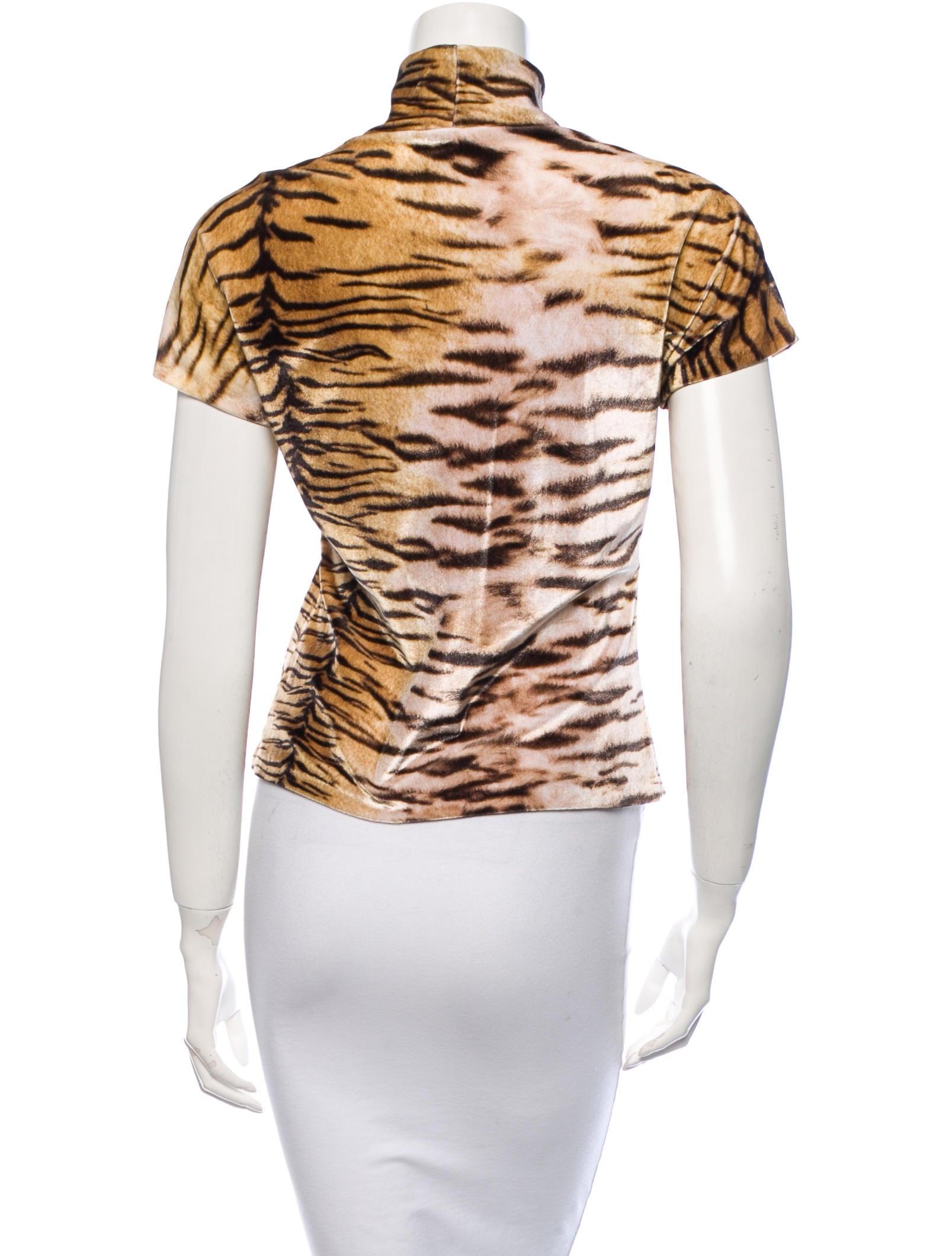 Roberto Cavalli Velour Tiger Stripe Top Clothing