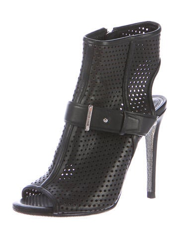 Perforated Peep-Toe Booties