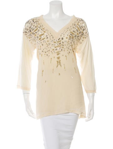 Roberto Cavalli Silk Embellished Top None