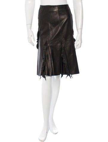 roberto cavalli ruffled leather skirt w tags clothing