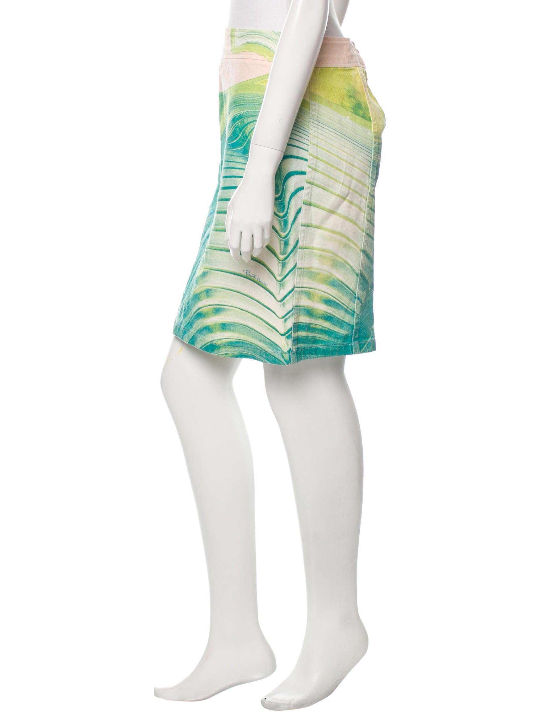 roberto cavalli printed denim skirt clothing rob34727
