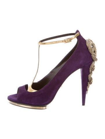 Suede T-Strap Pumps