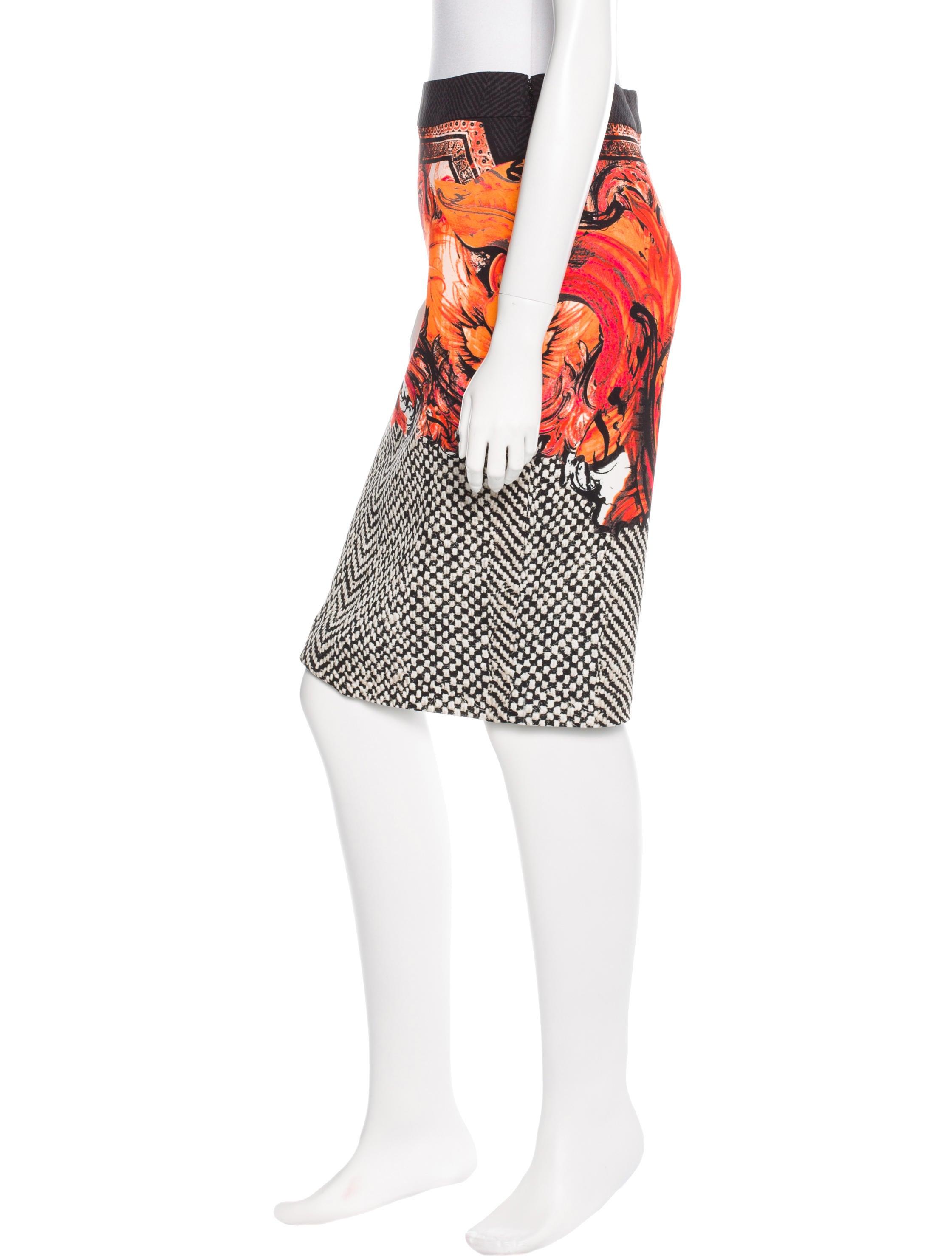 roberto cavalli mixed print pencil skirt clothing