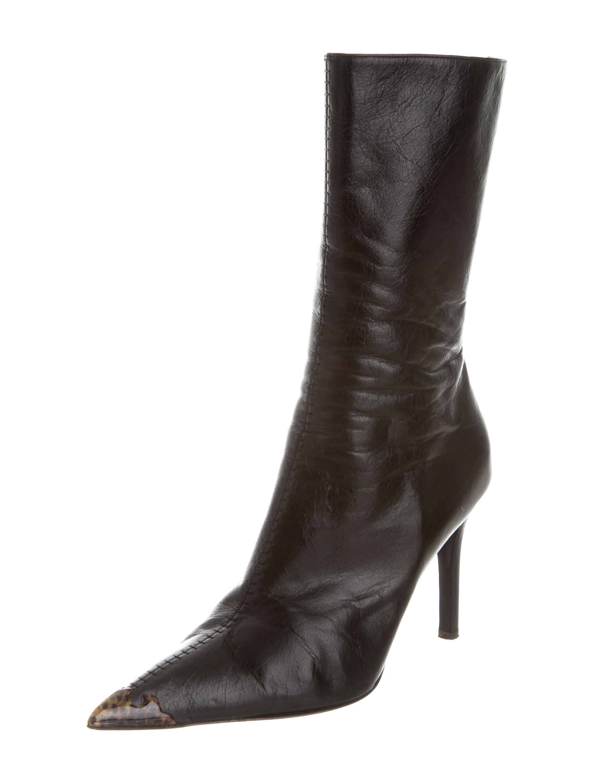 roberto cavalli leather pointed toe boots shoes